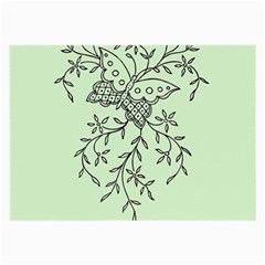 Illustration Of Butterflies And Flowers Ornament On Green Background Large Glasses Cloth