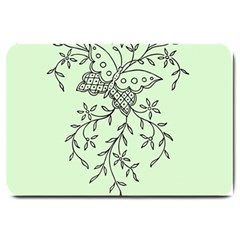 Illustration Of Butterflies And Flowers Ornament On Green Background Large Doormat