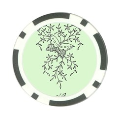 Illustration Of Butterflies And Flowers Ornament On Green Background Poker Chip Card Guard