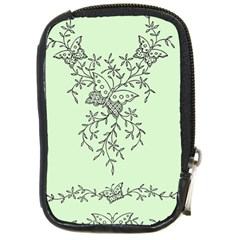 Illustration Of Butterflies And Flowers Ornament On Green Background Compact Camera Cases