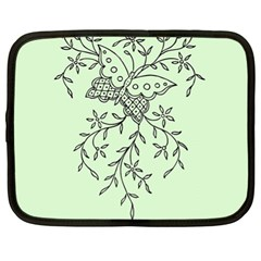 Illustration Of Butterflies And Flowers Ornament On Green Background Netbook Case (XL)