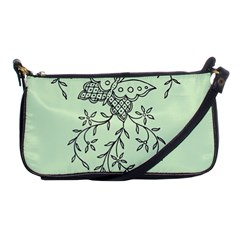Illustration Of Butterflies And Flowers Ornament On Green Background Shoulder Clutch Bags
