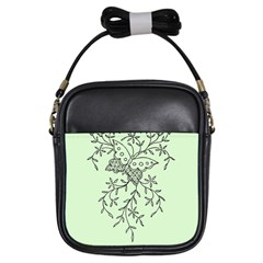 Illustration Of Butterflies And Flowers Ornament On Green Background Girls Sling Bags