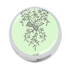 Illustration Of Butterflies And Flowers Ornament On Green Background 4-Port USB Hub (Two Sides)