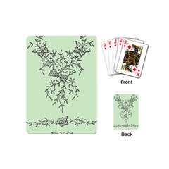 Illustration Of Butterflies And Flowers Ornament On Green Background Playing Cards (Mini)