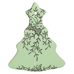 Illustration Of Butterflies And Flowers Ornament On Green Background Ornament (christmas Tree)
