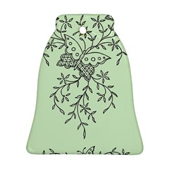 Illustration Of Butterflies And Flowers Ornament On Green Background Ornament (bell)