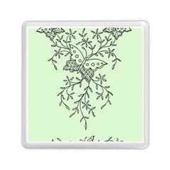 Illustration Of Butterflies And Flowers Ornament On Green Background Memory Card Reader (square)