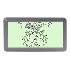 Illustration Of Butterflies And Flowers Ornament On Green Background Memory Card Reader (Mini)