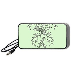Illustration Of Butterflies And Flowers Ornament On Green Background Portable Speaker (black)