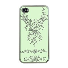 Illustration Of Butterflies And Flowers Ornament On Green Background Apple iPhone 4 Case (Clear)
