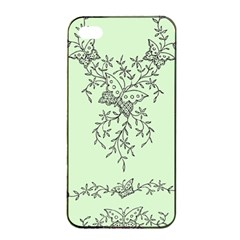 Illustration Of Butterflies And Flowers Ornament On Green Background Apple iPhone 4/4s Seamless Case (Black)