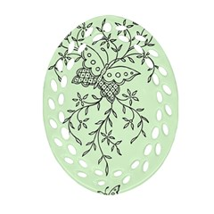 Illustration Of Butterflies And Flowers Ornament On Green Background Oval Filigree Ornament (two Sides)