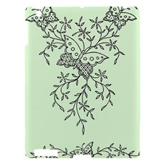 Illustration Of Butterflies And Flowers Ornament On Green Background Apple iPad 3/4 Hardshell Case