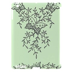 Illustration Of Butterflies And Flowers Ornament On Green Background Apple Ipad 3/4 Hardshell Case (compatible With Smart Cover)
