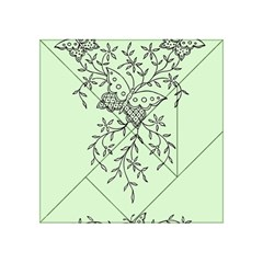 Illustration Of Butterflies And Flowers Ornament On Green Background Acrylic Tangram Puzzle (4  x 4 )