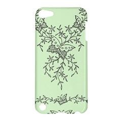 Illustration Of Butterflies And Flowers Ornament On Green Background Apple iPod Touch 5 Hardshell Case