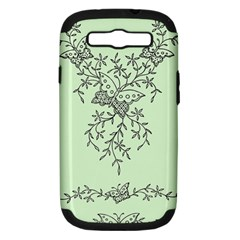 Illustration Of Butterflies And Flowers Ornament On Green Background Samsung Galaxy S Iii Hardshell Case (pc+silicone)