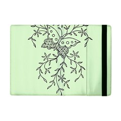 Illustration Of Butterflies And Flowers Ornament On Green Background Apple Ipad Mini Flip Case