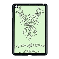 Illustration Of Butterflies And Flowers Ornament On Green Background Apple iPad Mini Case (Black)