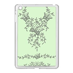 Illustration Of Butterflies And Flowers Ornament On Green Background Apple iPad Mini Case (White)