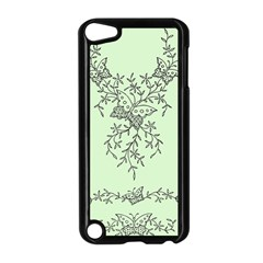 Illustration Of Butterflies And Flowers Ornament On Green Background Apple Ipod Touch 5 Case (black)