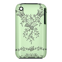 Illustration Of Butterflies And Flowers Ornament On Green Background Iphone 3s/3gs