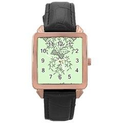 Illustration Of Butterflies And Flowers Ornament On Green Background Rose Gold Leather Watch