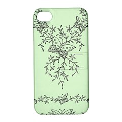 Illustration Of Butterflies And Flowers Ornament On Green Background Apple Iphone 4/4s Hardshell Case With Stand