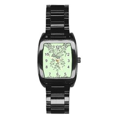 Illustration Of Butterflies And Flowers Ornament On Green Background Stainless Steel Barrel Watch