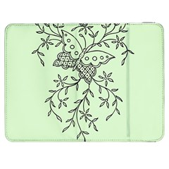Illustration Of Butterflies And Flowers Ornament On Green Background Samsung Galaxy Tab 7  P1000 Flip Case
