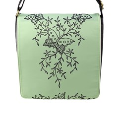 Illustration Of Butterflies And Flowers Ornament On Green Background Flap Messenger Bag (L)