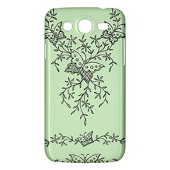 Illustration Of Butterflies And Flowers Ornament On Green Background Samsung Galaxy Mega 5.8 I9152 Hardshell Case