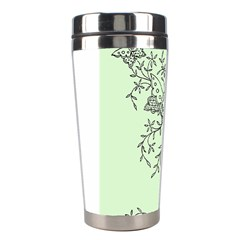 Illustration Of Butterflies And Flowers Ornament On Green Background Stainless Steel Travel Tumblers