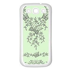 Illustration Of Butterflies And Flowers Ornament On Green Background Samsung Galaxy S3 Back Case (white)