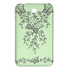 Illustration Of Butterflies And Flowers Ornament On Green Background Samsung Galaxy Tab 3 (7 ) P3200 Hardshell Case