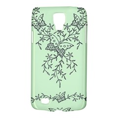 Illustration Of Butterflies And Flowers Ornament On Green Background Galaxy S4 Active