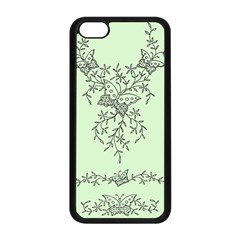 Illustration Of Butterflies And Flowers Ornament On Green Background Apple Iphone 5c Seamless Case (black)