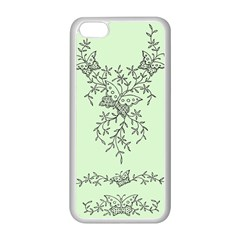 Illustration Of Butterflies And Flowers Ornament On Green Background Apple Iphone 5c Seamless Case (white)