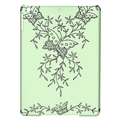 Illustration Of Butterflies And Flowers Ornament On Green Background iPad Air Hardshell Cases