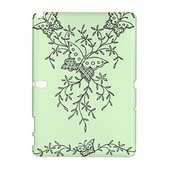 Illustration Of Butterflies And Flowers Ornament On Green Background Galaxy Note 1