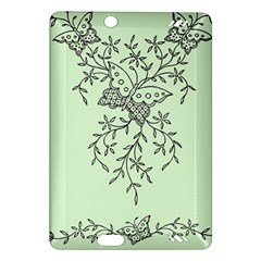 Illustration Of Butterflies And Flowers Ornament On Green Background Amazon Kindle Fire Hd (2013) Hardshell Case