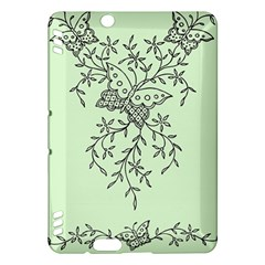 Illustration Of Butterflies And Flowers Ornament On Green Background Kindle Fire Hdx Hardshell Case