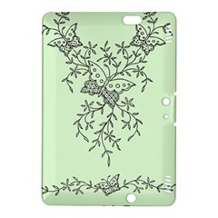 Illustration Of Butterflies And Flowers Ornament On Green Background Kindle Fire Hdx 8 9  Hardshell Case