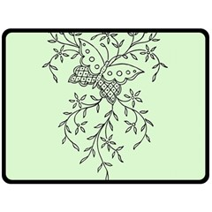 Illustration Of Butterflies And Flowers Ornament On Green Background Double Sided Fleece Blanket (large)