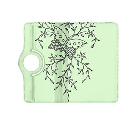 Illustration Of Butterflies And Flowers Ornament On Green Background Kindle Fire Hdx 8 9  Flip 360 Case