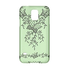 Illustration Of Butterflies And Flowers Ornament On Green Background Samsung Galaxy S5 Hardshell Case