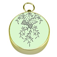 Illustration Of Butterflies And Flowers Ornament On Green Background Gold Compasses