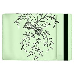 Illustration Of Butterflies And Flowers Ornament On Green Background Ipad Air Flip