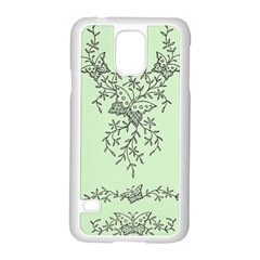 Illustration Of Butterflies And Flowers Ornament On Green Background Samsung Galaxy S5 Case (White)